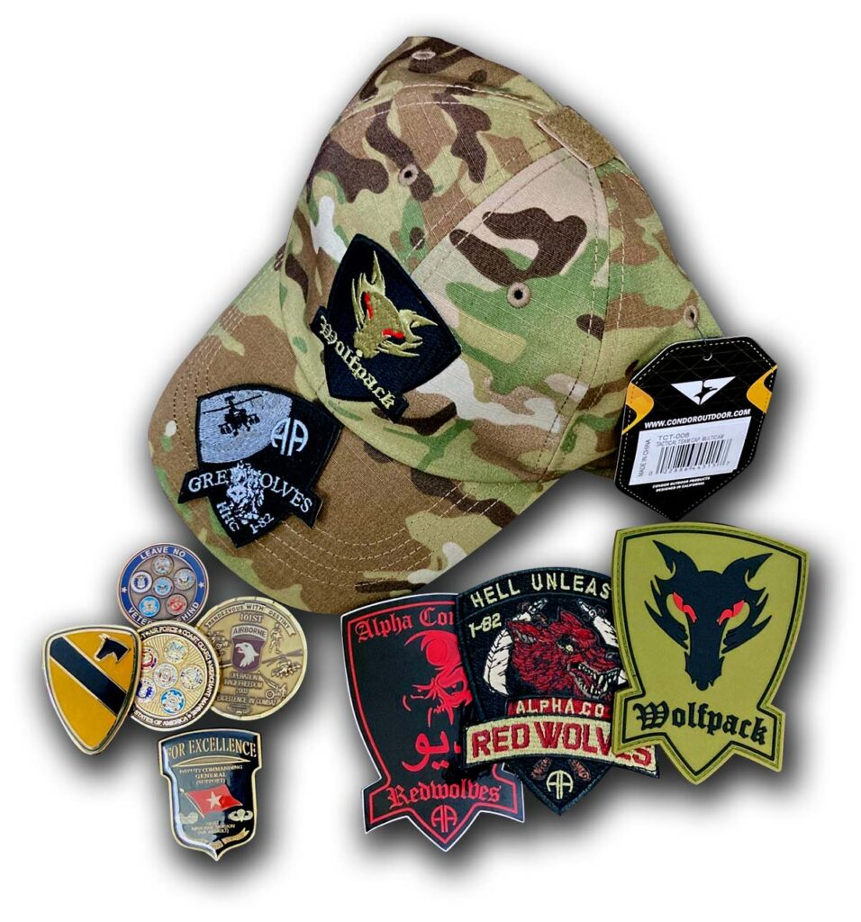 Military Merch from CEC. Patches, challenge coins, vinyl decals (aka stickers(, and hats with patches attached.